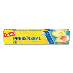Glad Press'n Seal Plastic Wrap, 70 Square Foot, 12 Rolls per Carton CLO70441 CLO 70441
