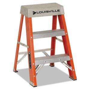 "Louisville Fiberglass Heavy Duty Step Ladder, 26"" Working Height, 300 lbs Capacity, 2 Step, Orange DADFS1502 FS1502"