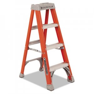 "Louisville Fiberglass Heavy Duty Step Ladder, 23"" Working Height, 300 lbs Capacity, 3 Step, Orange DADFS1504 FS1504"