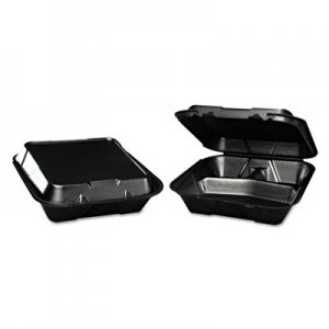 Genpak Snap-It Foam Hinged Container, 3-Compartment, 9-1/4x9-1/4x3, Black, 200/Carton GNPSN203BK SN203---3L