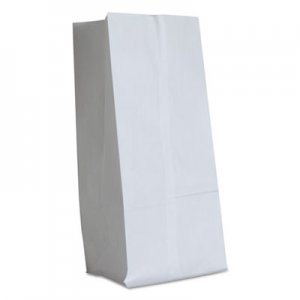 "Genpak Grocery Paper Bags, 40 lbs Capacity, #16, 7.75""w x 4.81""d x 16""h, White, 500"