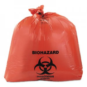 Heritage Healthcare Biohazard Printed Can Liners, 40-45 gal, 3mil, 40 x 46, Red, 75/CT HERA8046ZR A8046ZR
