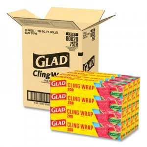 Glad ClingWrap Plastic Wrap, 200 Square Foot Roll, Clear CLO00020CT 20