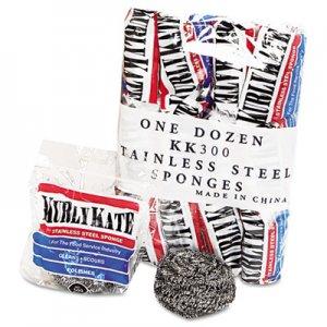 Kurly Kate Stainless Steel Scrubber, Medium, 3 1/2 x 1, Steel Gray, 12/Carton PUX300 6275630