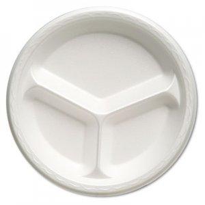 "Genpak Foam Dinnerware, Plate, 3-Comp, 10 1/4"" dia, White, 125/Pack, 4 Packs/Carton GNP81300 81300---"