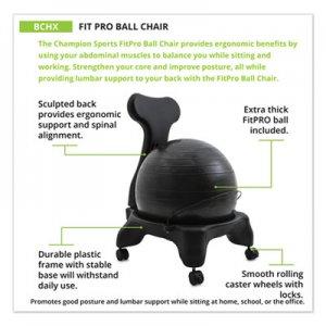 Champion Sports FitPro Ball Chair, 50cm Diameter x 74cm High, Gray CSIBCHX BCHX
