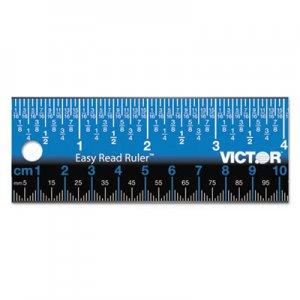 "Victor Easy Read Stainless Steel Ruler, Standard/Metric, 18"", Blue VCTEZ18SBL EZ18SBL"