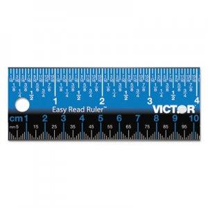 "Victor Easy Read Stainless Steel Ruler, Standard/Metric, 12"", Blue VCTEZ12SBL EZ12SBL"