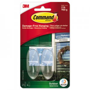 Command All Weather Hooks and Strips, Plastic, Medium, 2 Hooks and 4 Strips/Pack MMM17091CLRAWES 17091CLR-AWES
