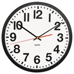 """Genpak Large Numeral Clock with Auto Daylight Savings Adjustment, 13"""" Overall Diameter, Black Case, 1 AA (sold separately) UNV10450"""