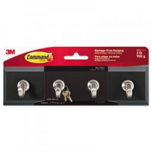 Command Decorative Key Rail, 8w x 1 1/2d x 2 1/8h, Black/Silver, 4 Hooks/Pack MMMHOM18SES HOM