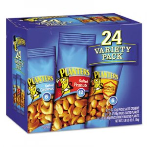 Planters Variety Pack Peanuts and Cashews, 1.75 oz/1.5 oz Bag, 24/Box PTN884624 664570