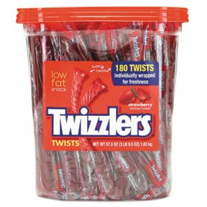 Twizzlers Strawberry Twizzlers Licorice, Individually Wrapped, 180/Tub TWZ884064 391322