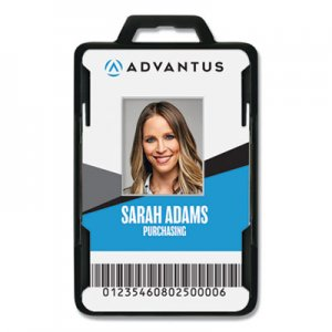 Advantus Secure-Two Card RFID Blocking Badge, 3 3/8 x 2 1/8, Black, 20 per Pack AVT76417 76417