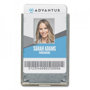 Advantus Rigid Two-Badge RFID Blocking Smart Card Holder, 3 3/8 x 2 1/8, Clear, 20/Pack AVT76416
