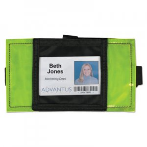 Advantus Reflective Arm Badge Holder, 3 1/2 x 3 1/2, Green/Black, 6 per Box AVT75650 75650