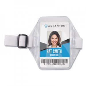 Advantus Vertical Arm Badge Holder, 2 1/2 x 3 1/2, Clear/White, 12 per Box AVT75649 75649