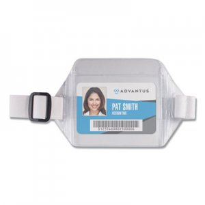 Advantus Horizontal Arm Badge Holder, 3 3/4 x 2 3/4, Clear/White. 12 per Box AVT75418 75418