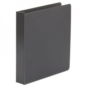 "Genpak Economy Non-View Round Ring Binder, 3 Rings, 1.5"" Capacity, 11 x 8.5, Black, 4/Pack UNV33401PK"