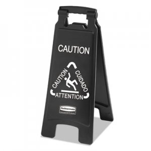 Rubbermaid Commercial Executive 2-Sided Multi-Lingual Caution Sign, Black/White, 10 9/10 x 26 1/10 RCP1867505 1867505