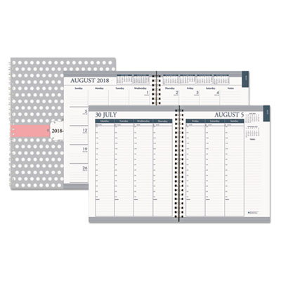 House of Doolittle Recycled Academic Monthly/Weekly Hard Cover Planner, 7 x 9, Dots, 2018-2019 HOD29593 295-93