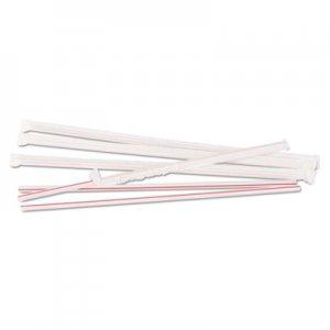 "Boardwalk Jumbo Straws, 10 1/4"", Plastic, White w/Red Stripe, 500/Pack BWKJSTW1025R4PK"