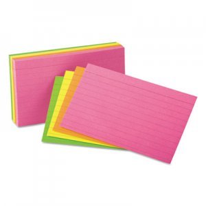 Genpak Ruled Neon Glow Index Cards, 3 x 5, Assorted, 100/Pack UNV47217