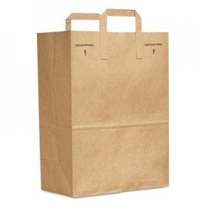 "Genpak Grocery Paper Bags, 70 lbs Capacity, 1/6 BBL, 12""w x 7""d x 17""h, Kraft, 300"