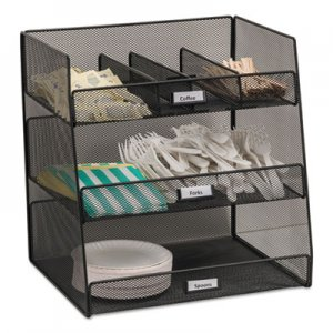 Safco Onyx Breakroom Organizers, 3 Compartments,14.625x11.75x15, Steel Mesh, Black SAF3293BL 3293BL