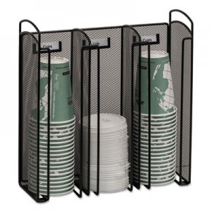 Safco Onyx Breakroom Organizers, 3Compartments, 12.75x4.5x13.25, Steel Mesh, Black SAF3292BL 3292BL