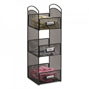 Safco Onyx Breakroom Organizers, 3 Compartments, 6 x 6 x 18, Steel Mesh, Black SAF3290BL 3290BL