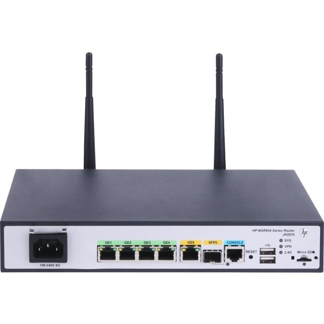 HP 1GbE SFP (WW) 2GbE-WAN 4GbE-LAN Wireless 802.11n CWv7 Router JH297A MSR954-W