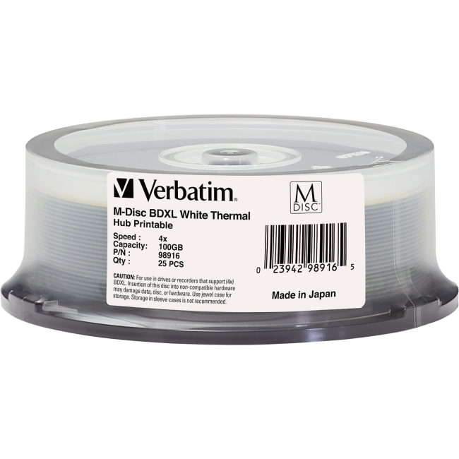 Verbatim M-Disc BDXL 100GB 4X White Thermal Printable, Hub Printable - 25pk Spindle 98916