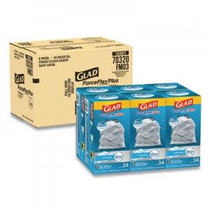"Glad ForceFlexPlus OdorShield Tall Kitchen Drawstring Trash Bags, 13 gal, 0.9 mil, 24"" x 28"", White, 204/Carton CLO70320"