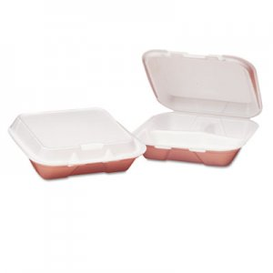 Genpak Foam Hinged Carryout Container, 3-Compartment, 8-4/9x7-5/8x2-3/8, White, 100/Bag GNPSN223 SN223---