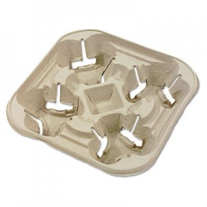 Chinet StrongHolder Molded Fiber Cup Tray, 8-22oz, Four Cups, 300/Carton HUH20972 20972
