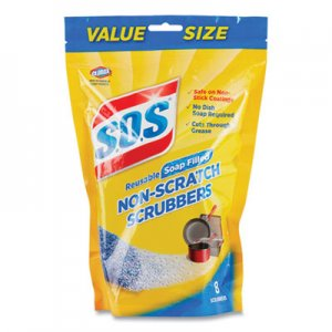 S.O.S Non-Scratch Soap Scrubbers, Blue, 8/Pack, 6 Packs/Carton CLO10005 10005