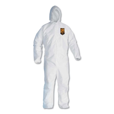 KleenGuard A30 Elastic-Back & Cuff Hooded Coveralls, White, X-Large, 25/Case KCC46114 KCC 46114