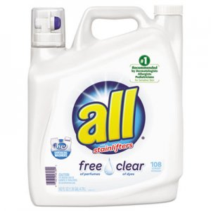 Diversey All Free Clear 2x Liquid Laundry Detergent, Unscented, 162 oz Bottle, 2/Carton DIA46139 46139