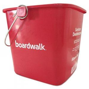 Boardwalk Sanitizing Bucket, 6 qt, Red, Plastic BWKKP196RD KP196RD