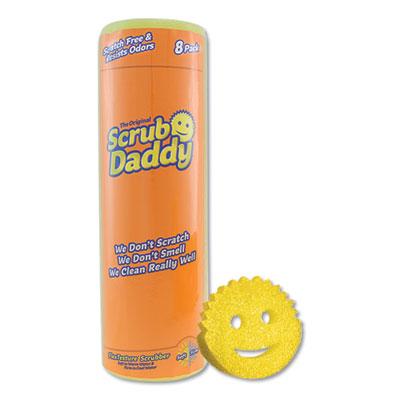"Scrub Daddy Scratch-Free Scrubbing Sponge, 4 1/8"" Diameter, Yellow, Polymer Foam, 8/Pack SCBSD8RMC"