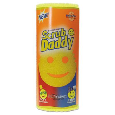 "Scrub Daddy Scratch-Free Scrubbing Sponge, 4 1/8"" Diameter, Yellow, Polymer Foam, 6/Pack SCBVP2012"