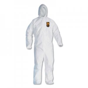 KleenGuard A20 Elastic Back, Cuff and Ankles Hooded Coveralls, 4X-Large, White, 20/Carton KCC49117 KCC 49117