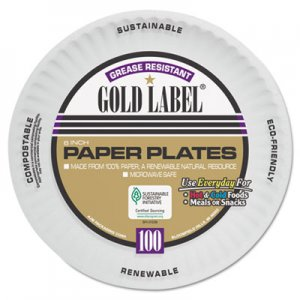 AJM Coated Paper Plates, 6 Inches, White, Round, 100/Pack AJMCP6GOAWH CP6OAWH