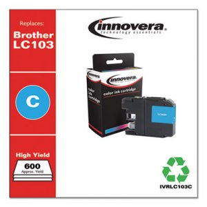 Innovera Remanufactured Cyan High-Yield Ink, Replacement for Brother LC103C, 600 Page-Yield IVRLC103C