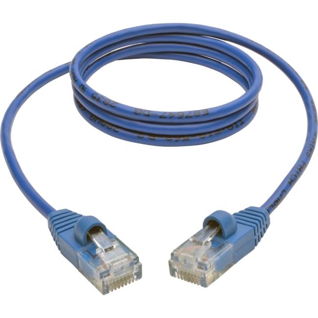Tripp Lite Cat5e 350 MHz Snagless Molded Slim UTP Patch Cable (RJ45 M/M), Blue, 3ft N001-S03-BL