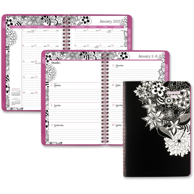 At-A-Glance FloraDoodle Weekly/Monthly Planner 589200 AAG589200