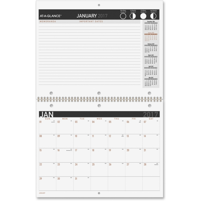 At-A-Glance 2PPM Monthly Desk Wall Calendar PM170X28 AAGPM170X28