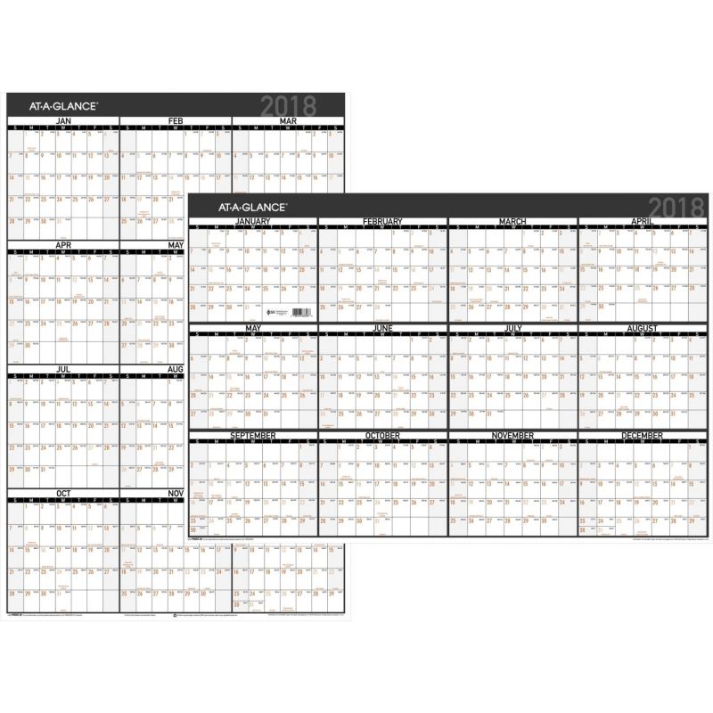 At-A-Glance Contemporary Erasable/Reversible Yearly Wall Planner PM26X28 AAGPM26X28