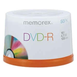 PNY Memorex 4.7GB/120-Minute 16x DVD-R, 50 Discs on Spindle Base 32020015452